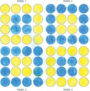 Experimento com círculos e cores.