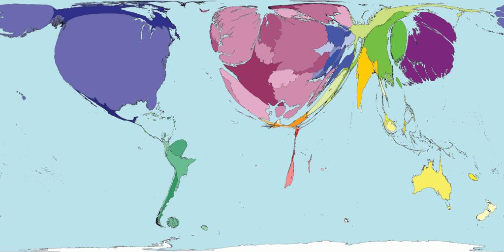mapa do volume de pesquisas científicas produzidas no mundo