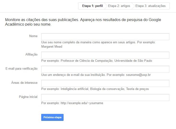 tutorial de como criar conta no google academico
