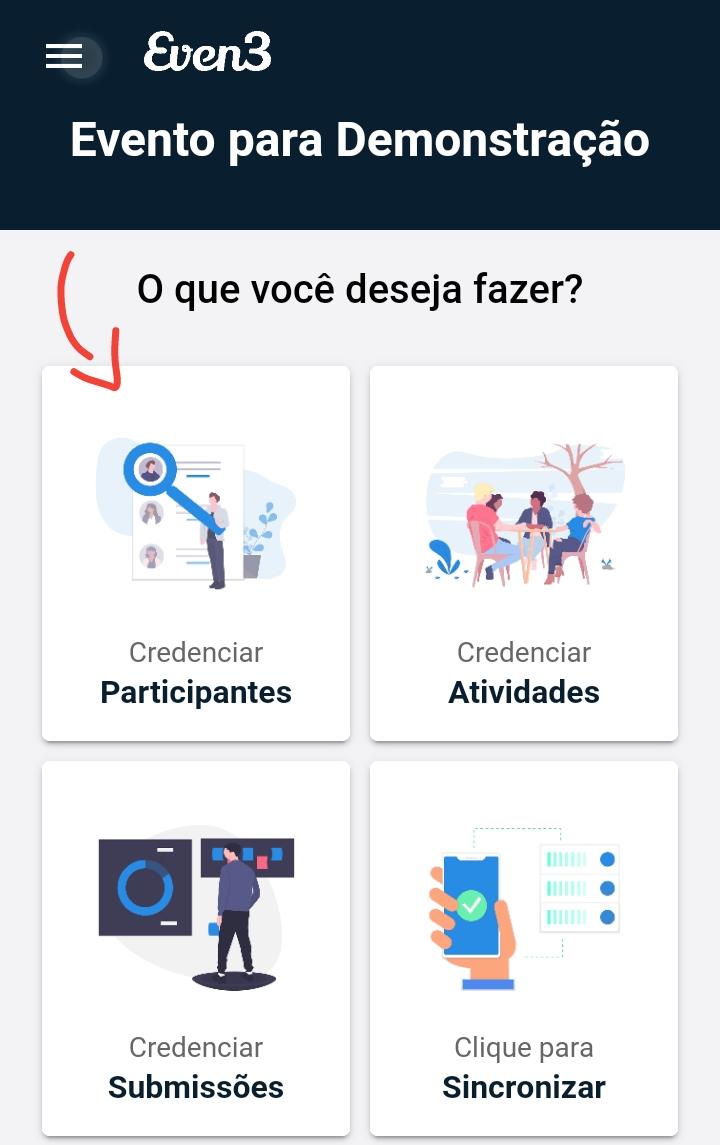 Formas de credenciamento no app da Even3