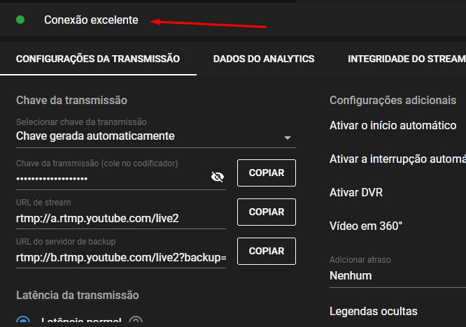 Verifique o status da conexão para transmitir live pelo youtube