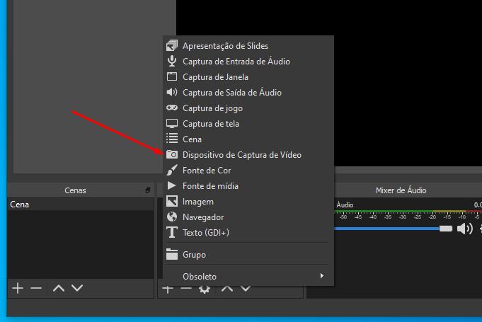 Selecione o dispositivo de captura de vídeo