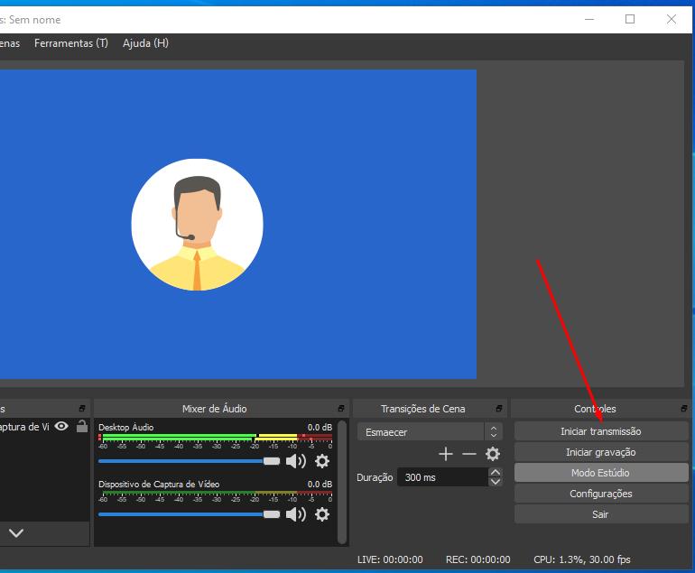 Como fazer live no Youtube pelo computador: Ative o modo estúdio no OBS Estúdio